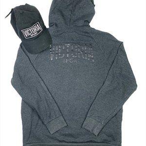 Victoria Secret Sport Grey Hoodie Sz M w/ Dad Hat